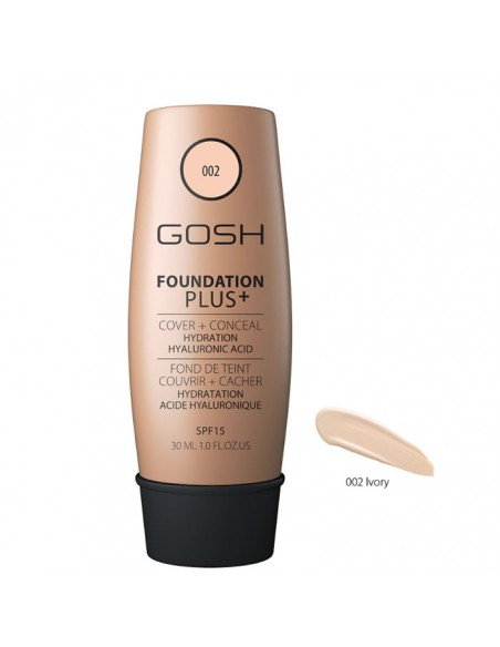 5711914139667 Gosh Foundation Plus + Cover & Conceal Spf15 002 Ivory 30ml